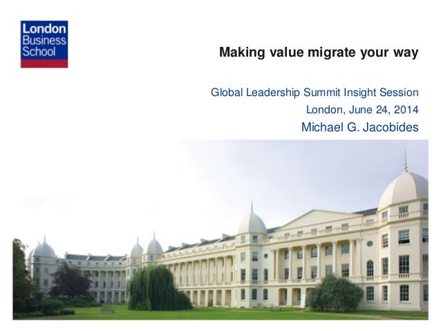 Making value migrate your way Global Leadership Summit Insight Session London, June 24, 2014 Michael G. Jacobides
