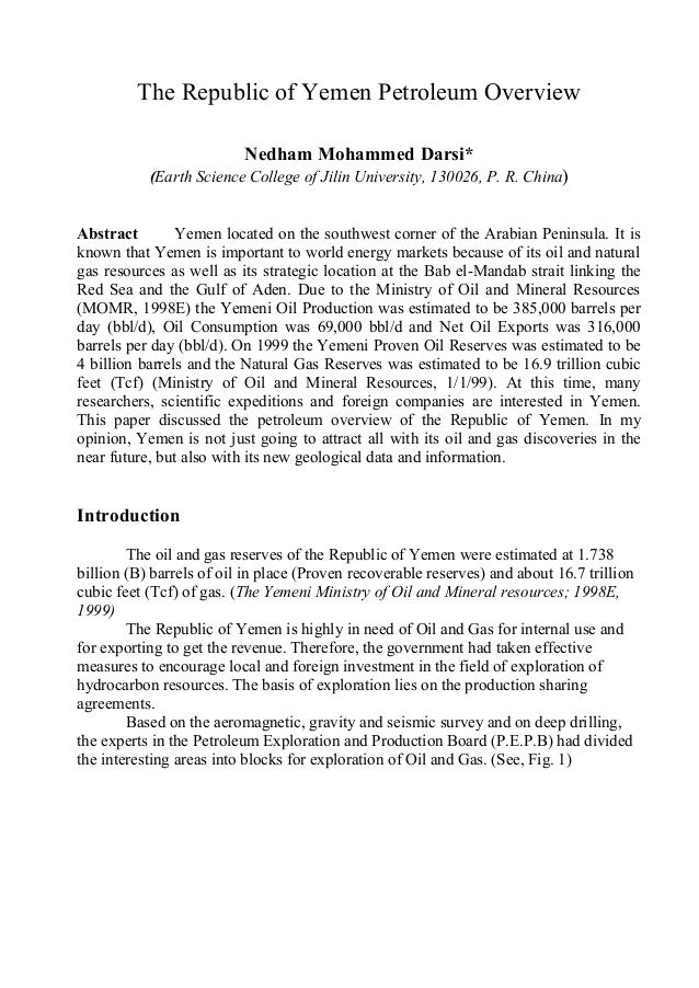 The Republic of Yemen Petroleum Overview                            Nedham Mohammed Darsi*            (Earth Science Colle...