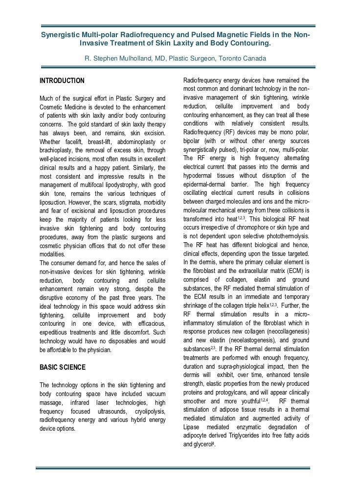Synergistic Multi-polar Radiofrequency and Pulsed Magnetic Fields in the Non-           Invasive Treatment of Skin Laxity ...