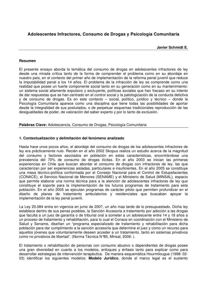 Adolescentes Infractores, Consumo de Drogas y Psicología Comunitaria                                                      ...