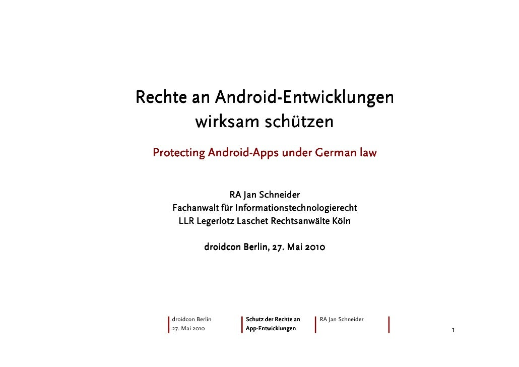 Android- Rechte an Android-Entwicklungen        wirksam schützen              Android-   Protecting Android-Apps under Ger...