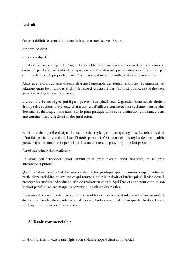 Le droitOn peut définir le terme droit dans la langue française avec 2 sens :-un sens objectif-un sens subjectifLe droit a...