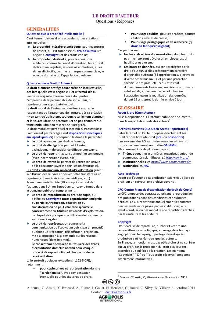 Le droit d'auteur : questions / réponses