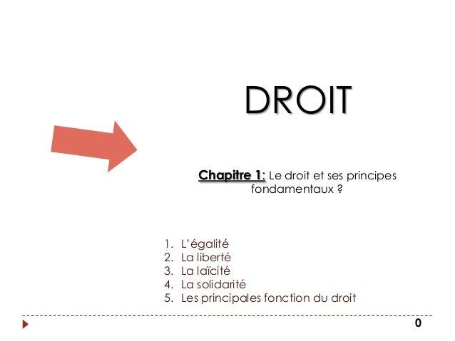 DROIT        Chapitre 1: Le droit et ses principes                  fondamentaux ?1.   L'égalité2.   La liberté3.   La laï...