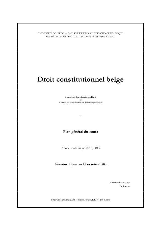 UNIVERSITÉ DE LIÈGE – FACULTÉ DE DROIT ET DE SCIENCE POLITIQUE     UNITÉ DE DROIT PUBLIC ET DE DROIT CONSTITUTIONNELDroit ...