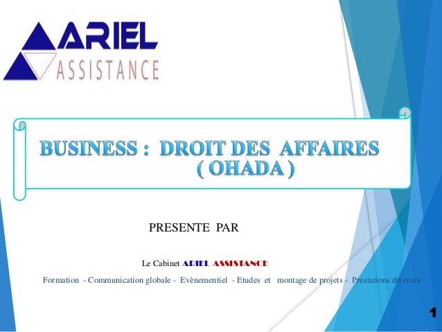 1 PRESENTE PAR Le Cabinet ARIEL ASSISTANCE Formation - Communication globale - Evènementiel - Etudes et montage de projets...