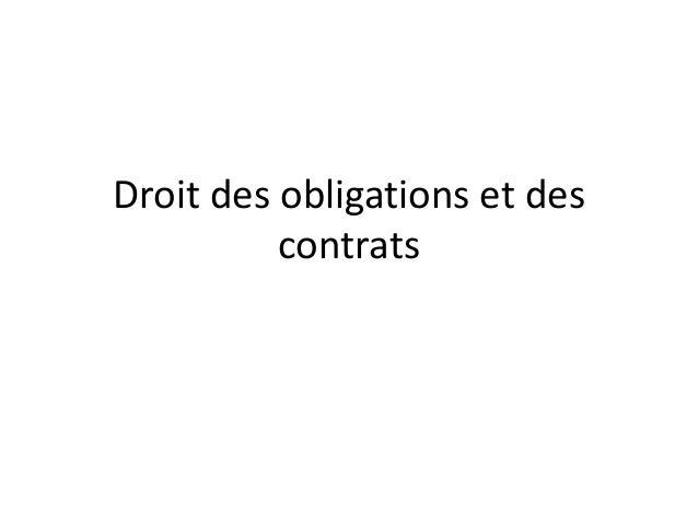 Droit des obligations et des          contrats
