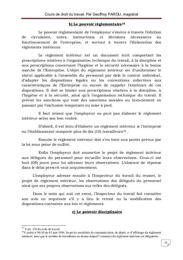 Droit du travail for Exemple de reglement interieur