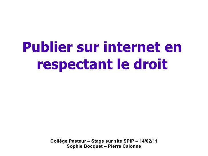 Collège Pasteur – Stage sur site SPIP – 14/02/11 Sophie Bocquet – Pierre Calonne Publier sur internet en respectant le droit