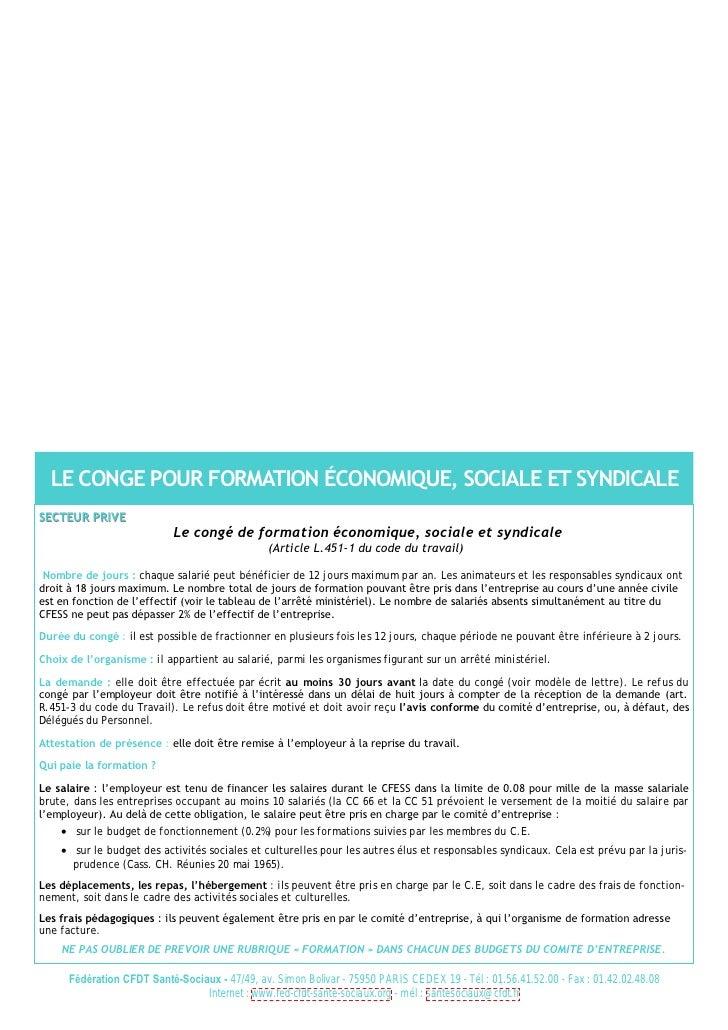 LE CONGE POUR FORMATION ÉCONOMIQUE, SOCIALE ET SYNDICALE SECTEUR PRIVE                             Le congé de formation é...