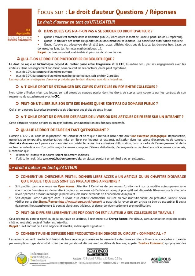 Auteurs : Y. Brohard, A. Filatre, C. Roure, C. Silvy Contact : cist@agropolis.fr – http://ist.agropolis.fr - Octobre 2011 ...