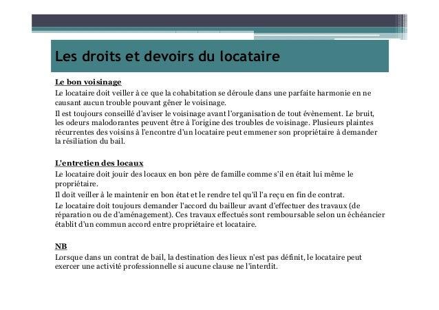 Droits et devoirs du locataire - Location droit du locataire ...