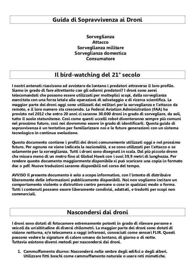 Guida di Sopravvivenza ai Droni Sorveglianza Attacco Sorveglianza militare Sorveglianza domestica Consumatore  Il bird-wat...