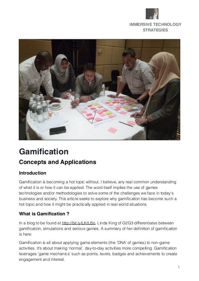 Gamification concepts and applications