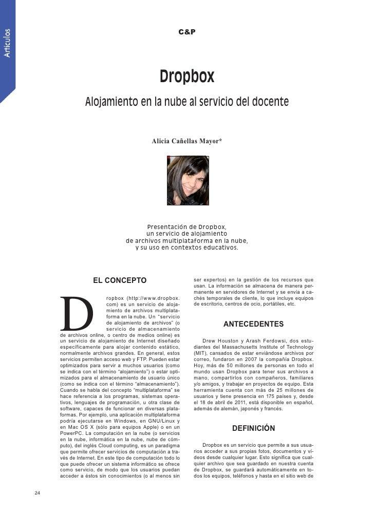 Dropbox. Alojamiento en la nube al servicio del docente