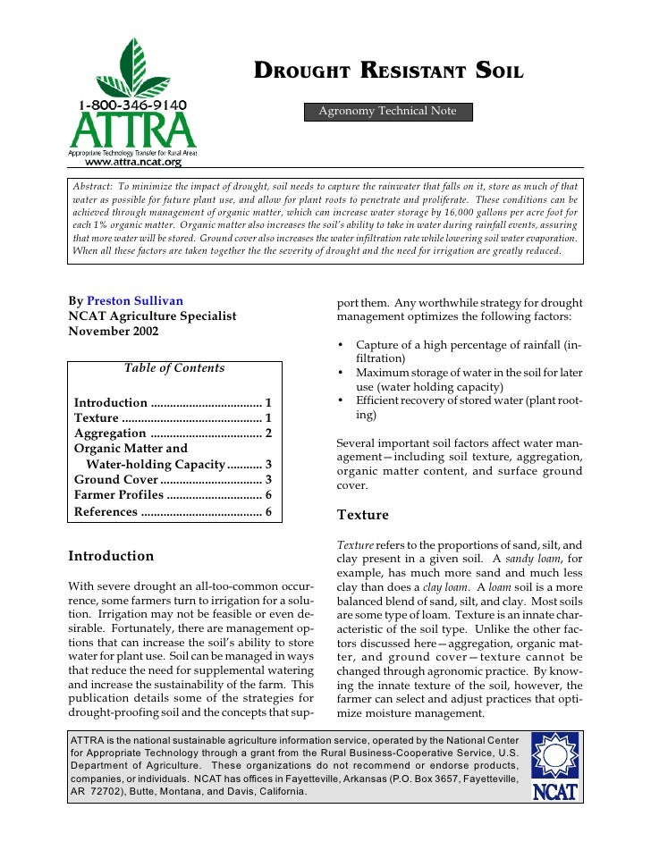 DROUGHT RESISTANT SOIL                                                             Agronomy Technical NoteAbstract: To min...
