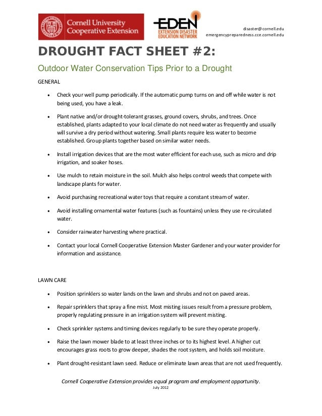 Outdoor Water Conservation Tips Prior to A Drought - Cornell University