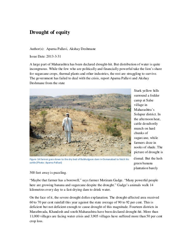 Drought of equityAuthor(s): Aparna Pallavi, Akshay DeshmaneIssue Date: 2013-3-31A large part of Maharashtra has been decla...