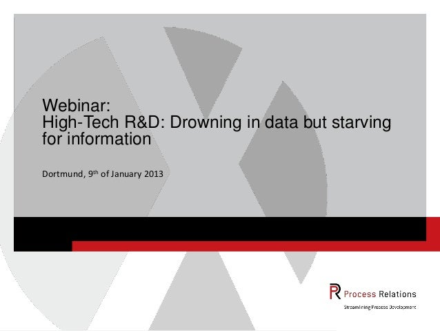 Webinar:High-Tech R&D: Drowning in data but starvingfor informationDortmund, 9th of January 2013