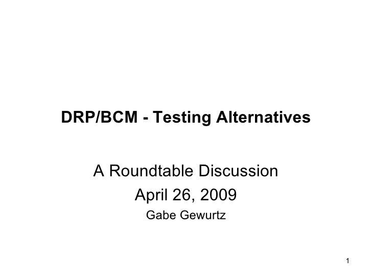 Drp Bcp Testing Alternatives