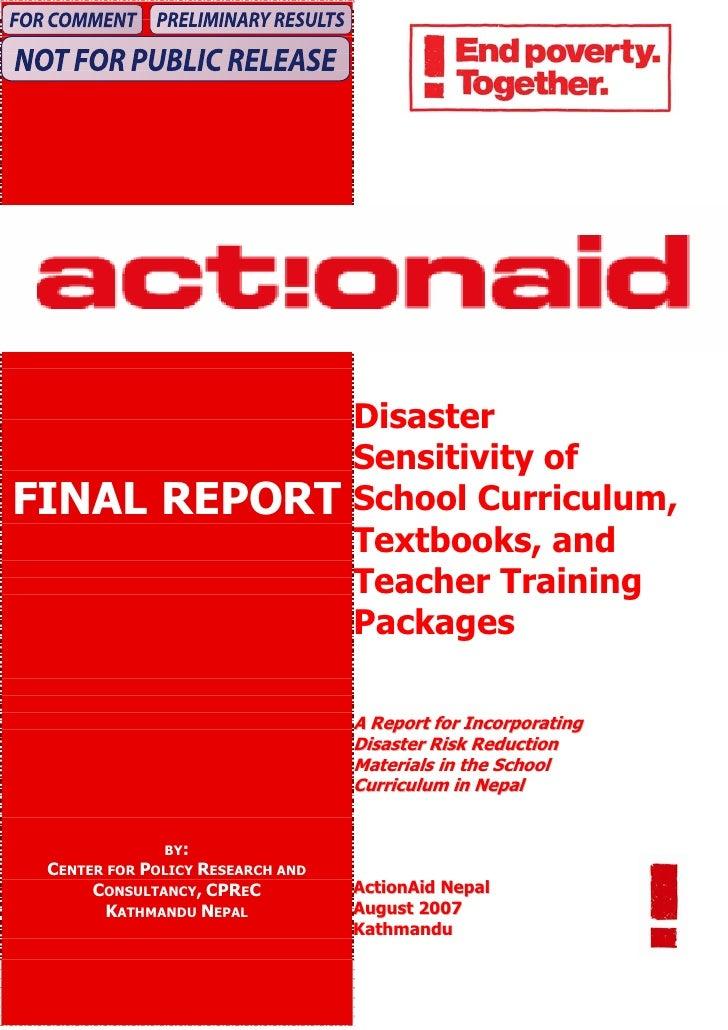 Disaster                                   Sensitivity of FINAL REPORT                      School Curriculum,            ...