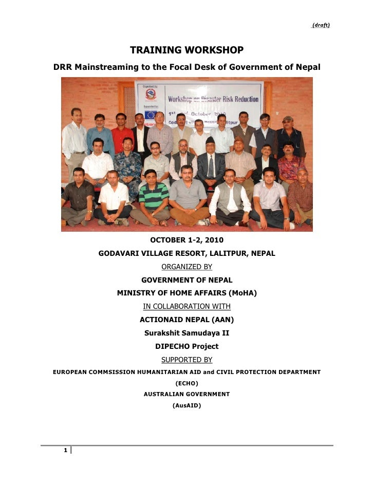 Drr focal person workshop completion report