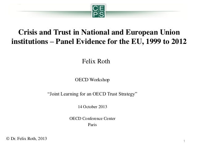 Crisis and Trust in National and European Union institutions – Panel Evidence for the EU, 1999 to 2012 Felix Roth OECD Wor...