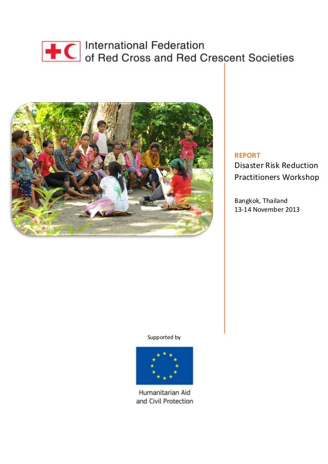 REPORT  Disaster Risk Reduction Practitioners Workshop Bangkok, Thailand 13-14 November 2013  Supported by