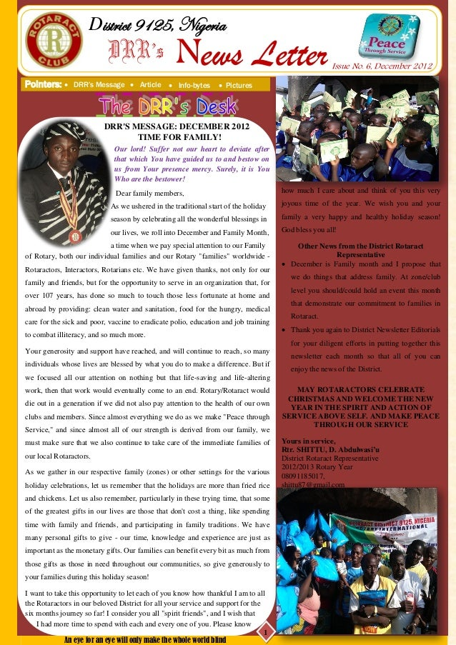 District 9125, Nigeria                            DRR's                 News Letter                                       ...