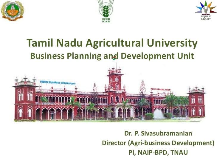 Business incubation opportunities through BPD/agri incubator