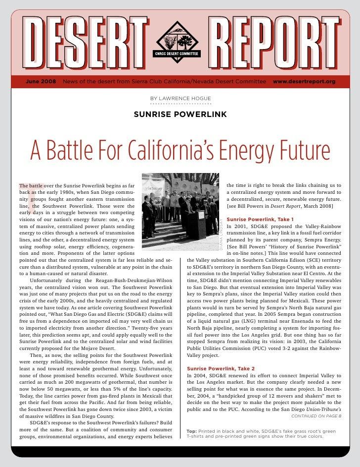 June 2008 Desert Report, CNCC Desert Committee