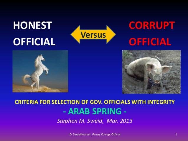 Dr Sweid Honest Official Versus Corrupt
