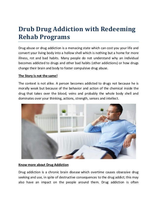 Drub Drug Addiction with RedeemingRehab ProgramsDrug abuse or drug ...
