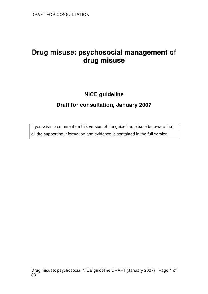 Drug Addiction NICE Guidelines