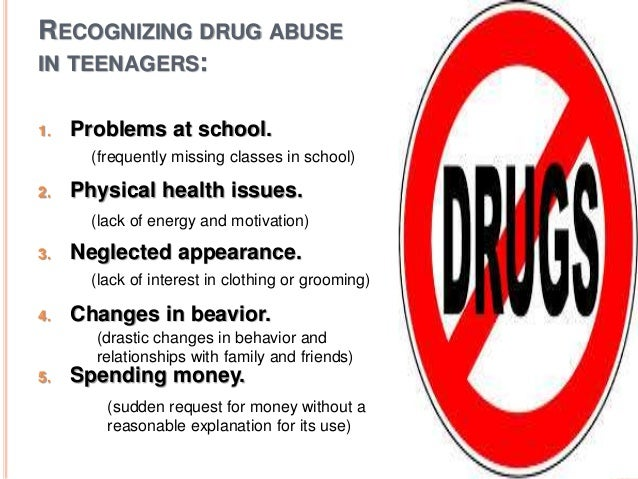 the issue of drug abuse about teenagers Drug abuse problems - the myriad repercussions to substance addiction - are typically not high on the list of considerations when someone begins using drugs.
