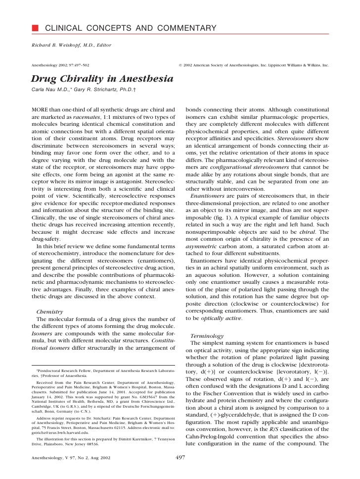 Drug  Chirality In  Anesthesia.29