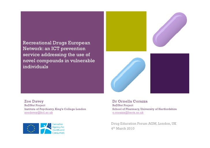 + Recreational Drugs European Network: an ICT prevention service addressing the use of novel compounds in vulnerable indiv...