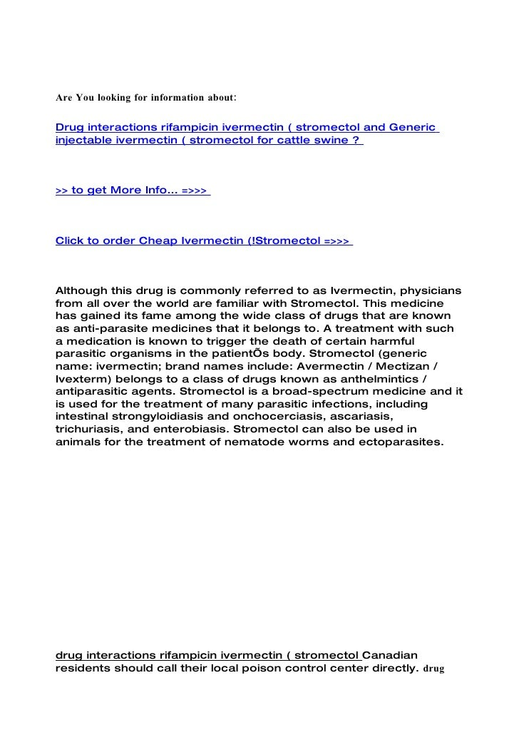 Stromectol Ivermectin Drug Information