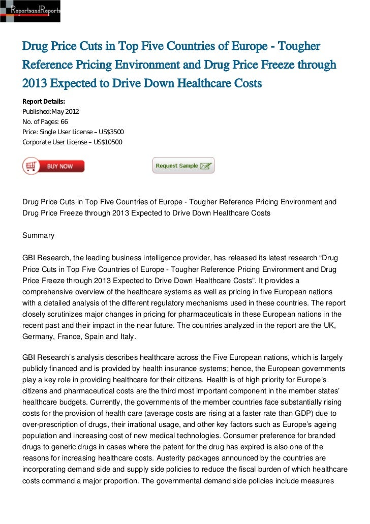 Drug Price Cuts in Top Five Countries of Europe - TougherReference Pricing Environment and Drug Price Freeze through2013 E...