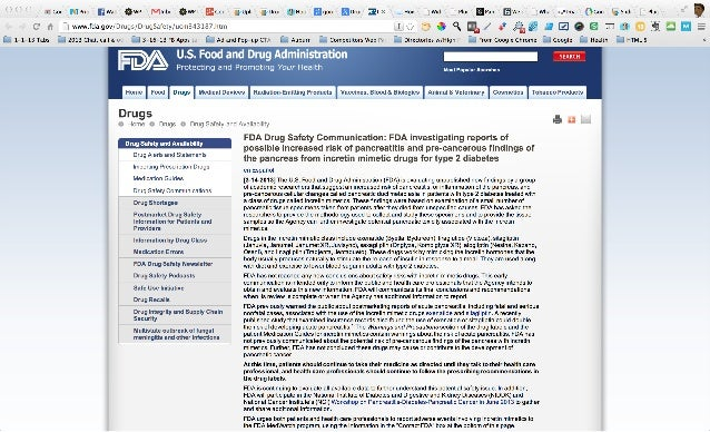 Drug safety and availability   fda drug safety communication  fda investigating reports of possible increased risk of panc...