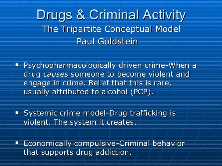 the relation of drugs to criminal behavior (b) drug use results in a greater likelihood of homelessness and in more criminal behaviors when drug use is statistically controlled, the relation between homelessness and criminal behavior disappears.