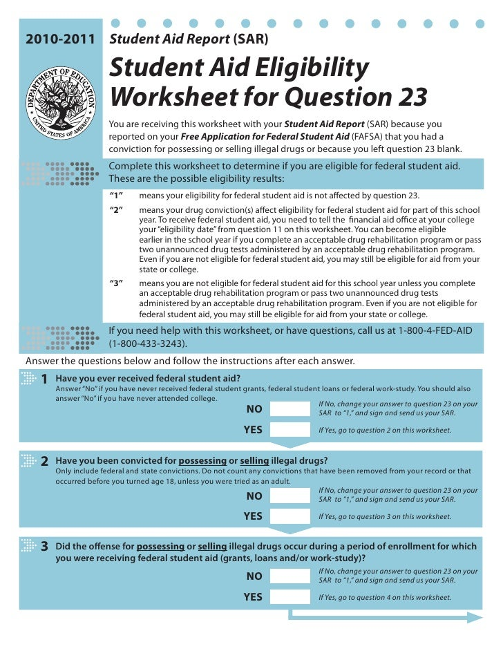 2010-2011 Student Aid Report (SAR)                         Student Aid Eligibility                        Worksheet for Qu...