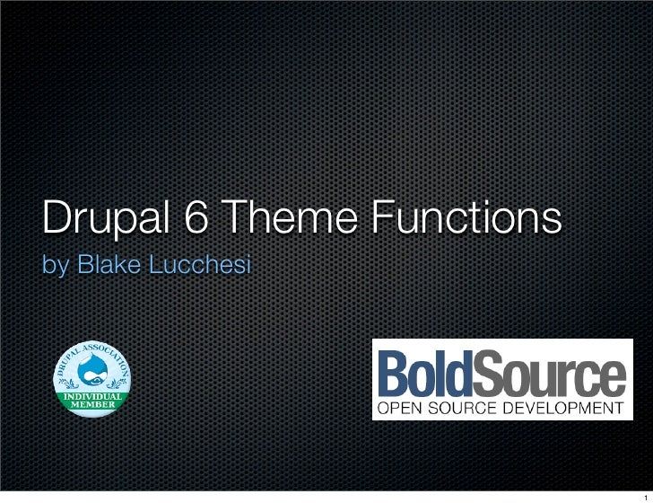 Drupal 6 Theme Functions by Blake Lucchesi                                1