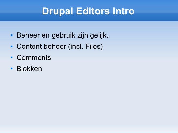 Drupal introductie voor redactie