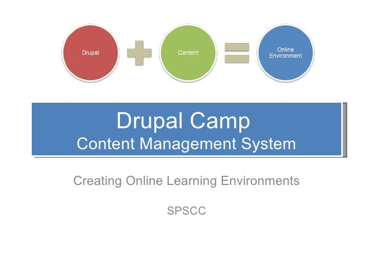 Drupal Camp  Content Management System Creating Online Learning Environments SPSCC