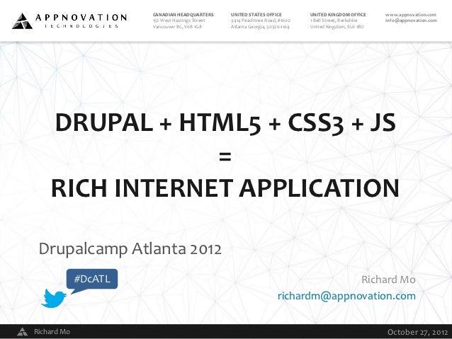 Drupal + HTML5 + CSS3 + JS = Rich Internet Application