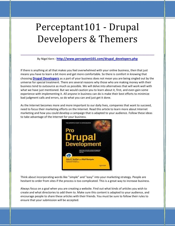 Perceptant101 - Drupal    Developers & Themers___________________________________             By Nigel Kern - http://www.p...