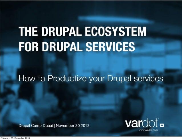 THE DRUPAL ECOSYSTEM FOR DRUPAL SERVICES How to Productize your Drupal services  Drupal Camp Dubai | November 30 2013 www....
