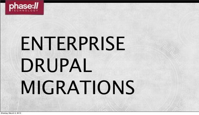ENTERPRISE                    DRUPAL                    MIGRATIONSMonday, March 4, 2013
