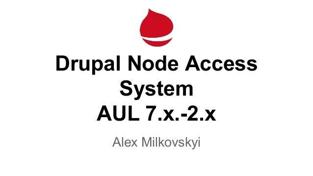 Drupal Node Access System AUL 7.x.-2.x Alex Milkovskyi